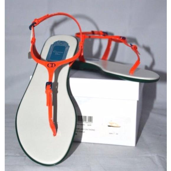 4dec42cd4ae DIOR lagoon orange patent leather thong sandals 39